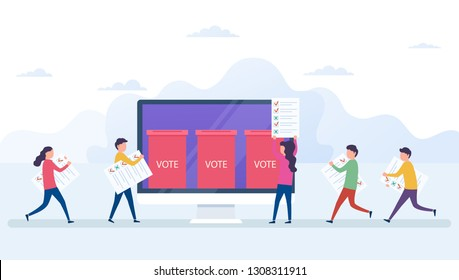 Online voting concept, electronic voting system with computer screen. Voters with newsletters in hands, ballot boxe, election internet system.