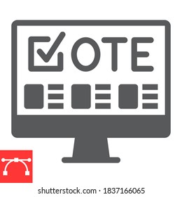 Online voting glyph icon, election and online vote, monitor sign vector graphics, editable stroke solid icon, eps 10