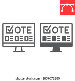 Online voting line and glyph icon, election and online vote, monitor sign vector graphics, editable stroke linear icon, eps 10