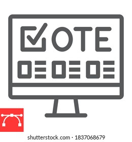 Online voting line icon, election and online vote, monitor sign vector graphics, editable stroke linear icon, eps 10