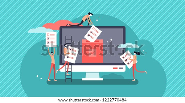 Online voting mini people concept flat vector illustration with computer screen,voting box and voters making decisions.Modern electronic voting system for election,government rules and public projects