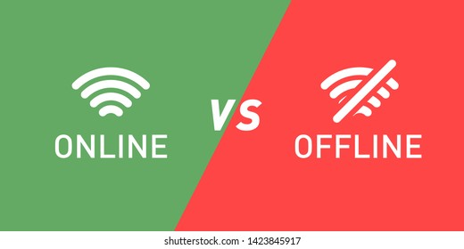 Online vs offline green and red sign icon