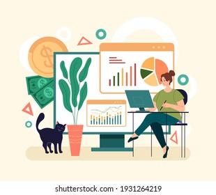 Online web internet finance analytics concept. Vector simple modern style graphic design illusration
