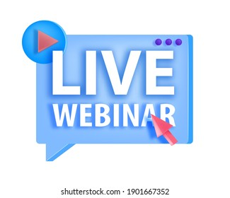 Online webinar, digital lecture, training vector icon, logo concept with play button, arrow,isolated. Web conference, digital education, video course tutorial sticker. Online webinar, internet meeting
