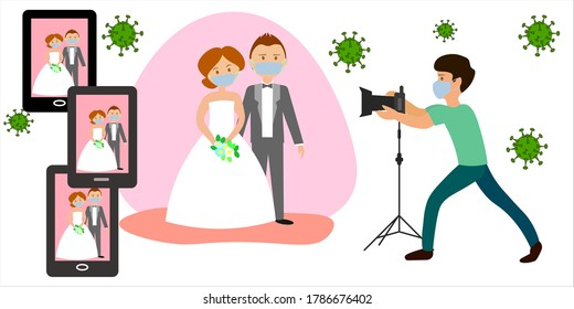 Online wedding ceremony during the pandemic. Groom and bride wearing wedding dress and mask on wedding day. Photographer in mask.