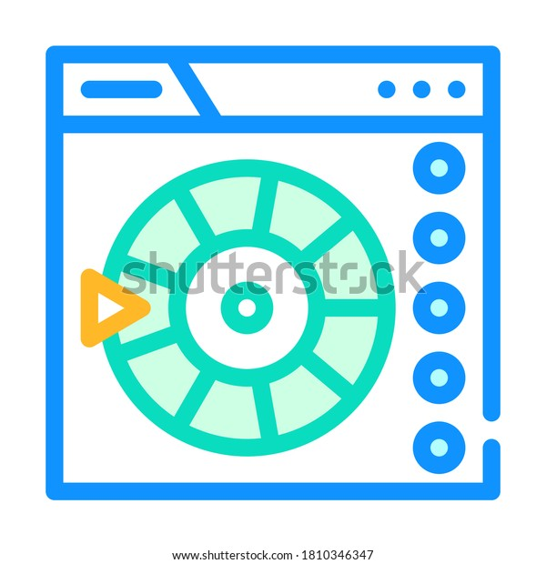 online wheel of fortune color icon vector. online wheel of fortune sign. isolated symbol illustration
