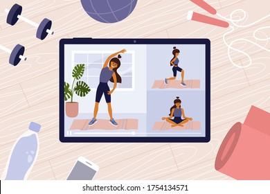 Online workout classes on digital tablet with young woman showing exercises. Sport video. Stay home, keep fit and positive. Fitness equipment. Physical activity, healthy lifestyle vector illustration