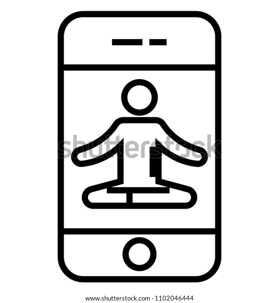 Online Yoga Class Line Isolated Vector Stock Vector Royalty Free 1102046444