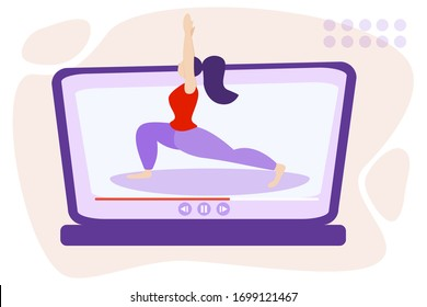 Online yoga stretch twine relaxation techniques vector illustration. Female person sitting and enjoy calm, harmony and peace. Alternative medicine for vitality or healthy lifestyle and soul fulfillmen