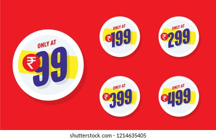 Only for 99. Vector illustration badges of under rupees 99 price tag. Round flat design labels, Business shopping concept.