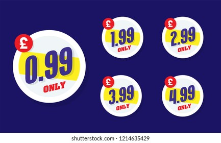 Only for 99. Vector illustration badges of under 99 pounds price tag. Round flat design labels, Business shopping concept.