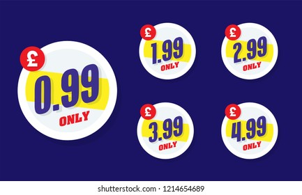 Only for 99. Vector illustration badges of under 99 pound price tag. Round flat design labels, Business shopping concept.
