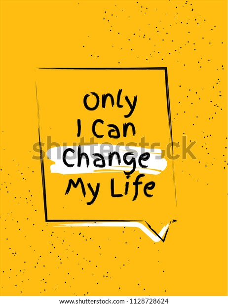 Only i can change my life banner and poster design with motivational quote. Background poster design in abstract yellow background.