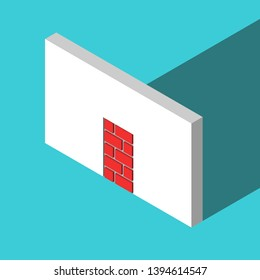 The only isometric doorway walled-up with red bricks or blocks on turquoise blue. Obstacle, challenge and hopelessness concept. Flat design. Vector illustration, no transparency, no gradients