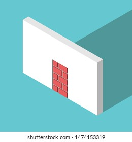 The only isometric doorway walled-up with red bricks or blocks on turquoise blue. Obstacle, challenge and hopelessness concept. Flat design. EPS 8 vector illustration, no transparency, no gradients