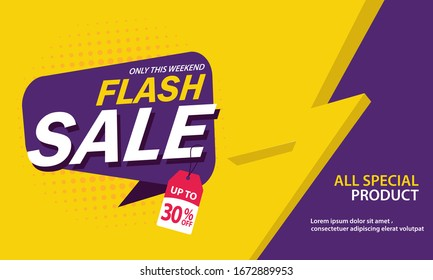 Only Weekend Special Flash Sale banner. Flash Sale discount up to 30% off. Vector illustration. - Vector