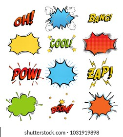 Onomatopoeia comics sounds in clouds for emotions and boom explosion.