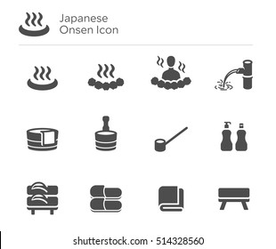 Onsen Japan Japanese Hot Spring Vector Icon Set