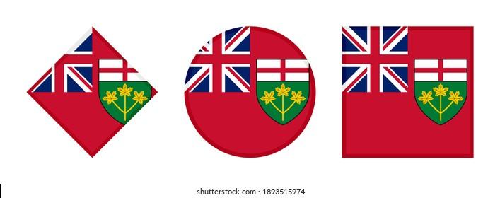 ontario flag icon set isolated on white background