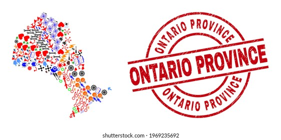 Ontario Province map mosaic and rubber Ontario Province red circle seal. Ontario Province seal uses vector lines and arcs. Ontario Province map collage contains gears, homes, lamps, suns, hands,