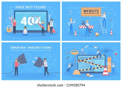 Oops 404 error page not found concept set. Illustration collection of internet connection problem with little people and blank paper sheet. Site under construction. Flat vector illustration