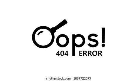 Oops 404 error web site vector icon. Page not found vector eps