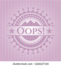 Oops! badge with pink background