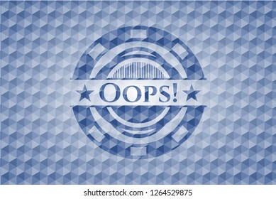 Oops! blue emblem with geometric pattern.
