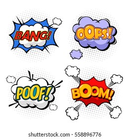 Oops and boom, bang and boom comic bubble speeches. Excuse replica and cloud of dust, explosion sound effect. Isolated comix messages and popped expressions, humour dialog theme