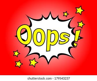 Oops! - Commic Speech Bubbel, Cartoon