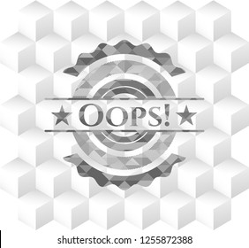 Oops! grey emblem. Vintage with geometric cube white background