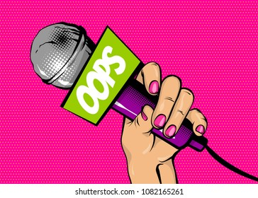 OOPS news comic text speech bubble. Woman pop art style fashion. Girl hand hold microphone cartoon vector illustration. Retro poster comimc book performance. Entertainment halftone background.