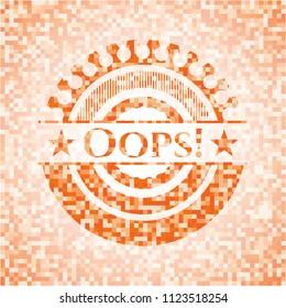 Oops! orange mosaic emblem with background