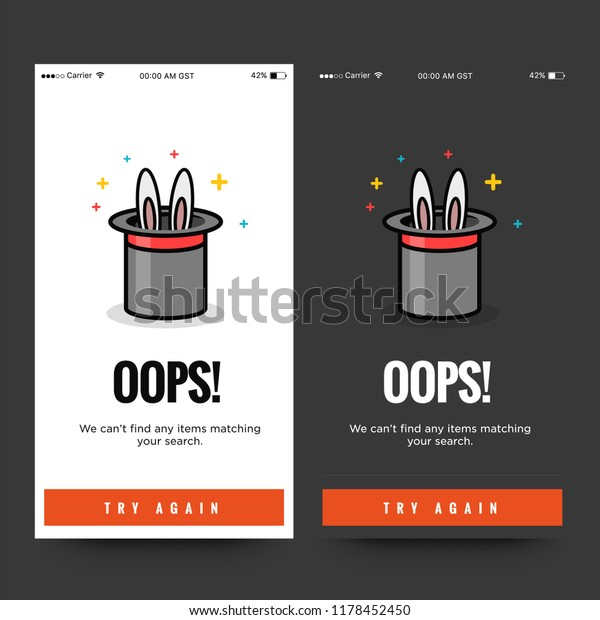 Oops Please Check Internet Connection Empty Stock Vector
