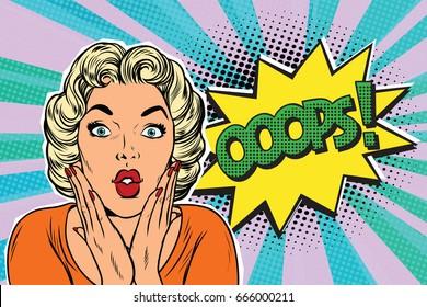 oops pop art blond woman. retro vector illustration