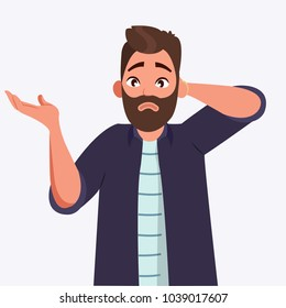 oops, sorry, I do not know, question, doubt. Man shrugs his shoulder and spreads his hands. Vector illustration in cartoon style. millennials. character illustration