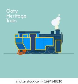 ooty heritage train engine vector