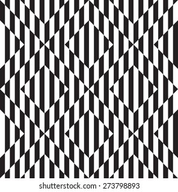 Op art. Abstract Black and White Striped Vector Seamless Pattern with square. Optical illusions