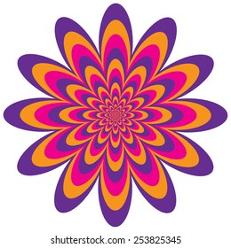 Op Art Flower optical illusion design in purple, pink and orange. Colors are grouped for easy editing.