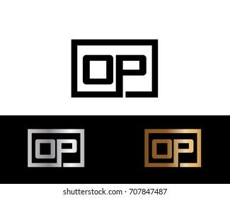 OP initial box shape Logo designs template