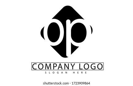 op initial letter logo monogram black rounded box letter are overlapping.