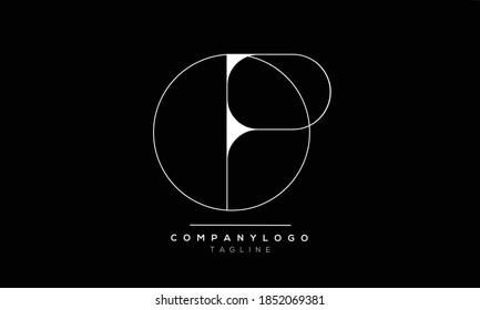 OP leaf initials monogram letter text alphabet logo design