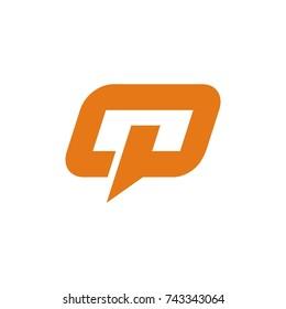 OP, Q, QP  logo design template vector