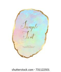 Opal crystal gemstone background with golden border.
