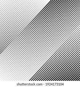 Opart abstract background with diagonal lines. Stylish monochrome striped texture with 3d effect. Modern vector design element.