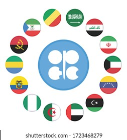 OPEC Members Countries National Flags. OPEC members countries flags with  14 members flags . OPEC flag