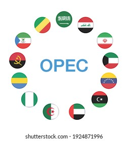 OPEC Members Countries National Flags. OPEC members countries flags with 13 members flags . OPEC member  flag update year 2020