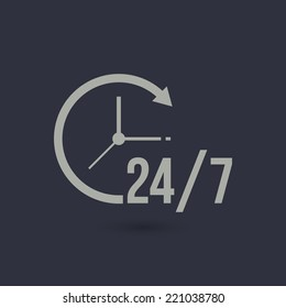 open 24 7 icon with clock. Vector illustration