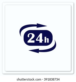 Open 24 7 icon with clock, 24/7 Concept.  Vector illustration.