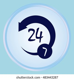 Open 24 7 icon with clock